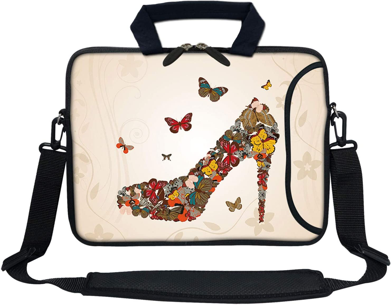 Meffort Inc 13 Inch Neoprene Laptop Bag with Extra Side Pocket Fits for 12.5 to 13.3 Inch Size Computer - Butterfly High Heel