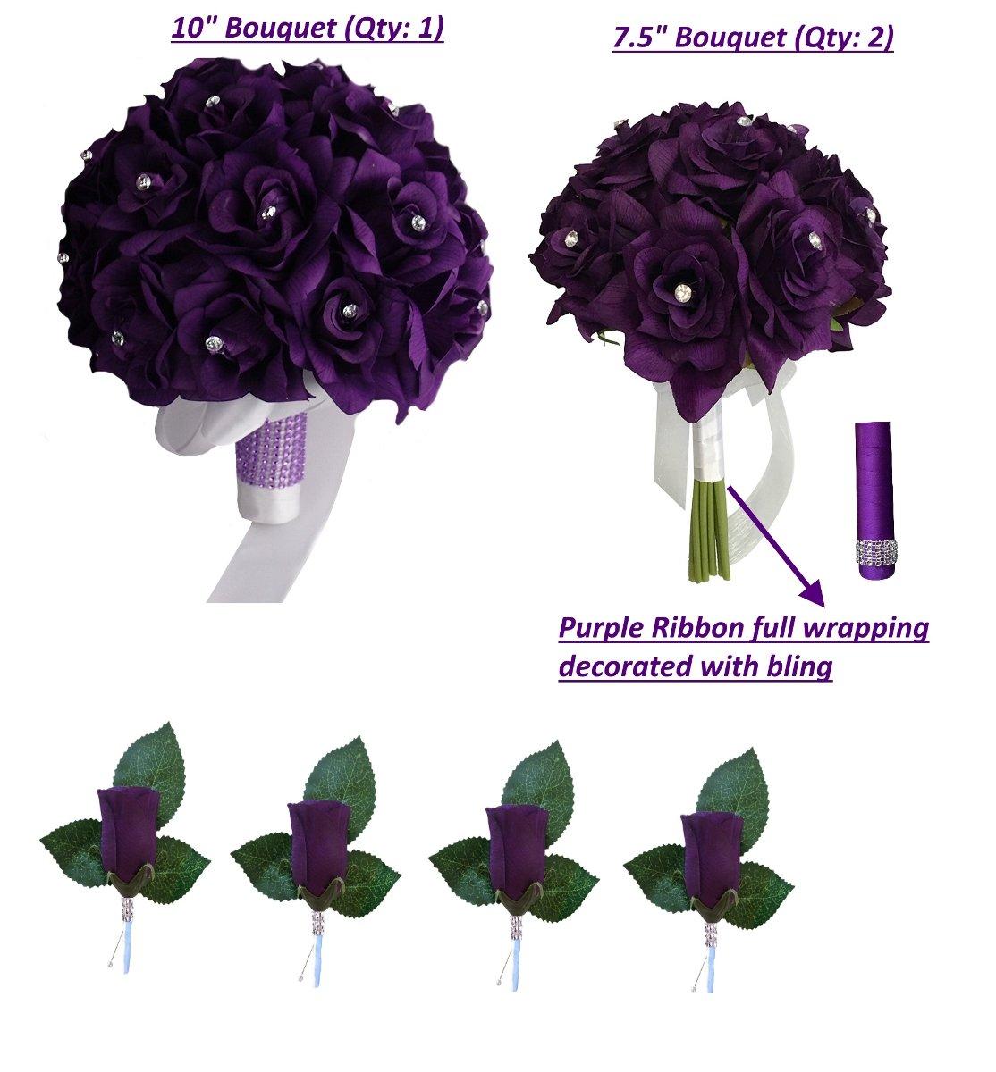 3-Bouquet-4-Boutonnieres-Purple-Bouquet-Wedding-Flowers-Package-Silk-Flower