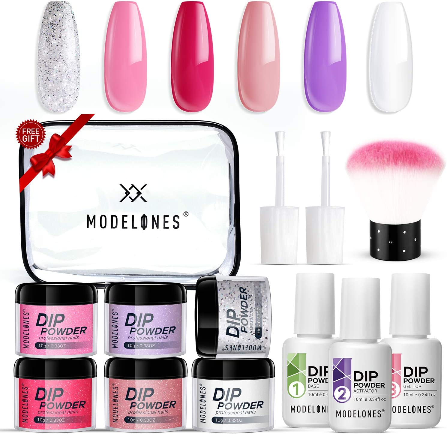 Dipping Powder Nail Starter Kit 6 Colors,Dip Powder System Starter Nail Kit Acrylic Dipping System for French Nail Manicure Nail Art Set Essential kit,Portable Kit for Travel