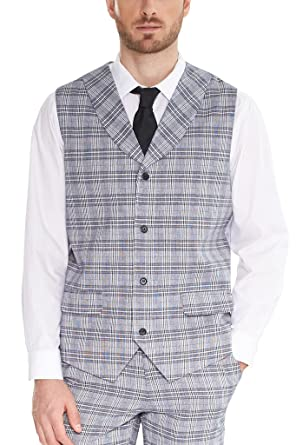 Mens Lattice Waistcoat With Lapel Wedding Prom Suit Dress Separate Jacket Vests SI114?Grey,