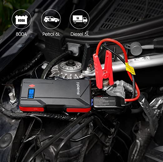 Suaoki P6 Car Jump Starter 800A Peak Current with Smart Jump Leads as 15000mAh Battery Pack with Dual USB Port and LED Flashlight
