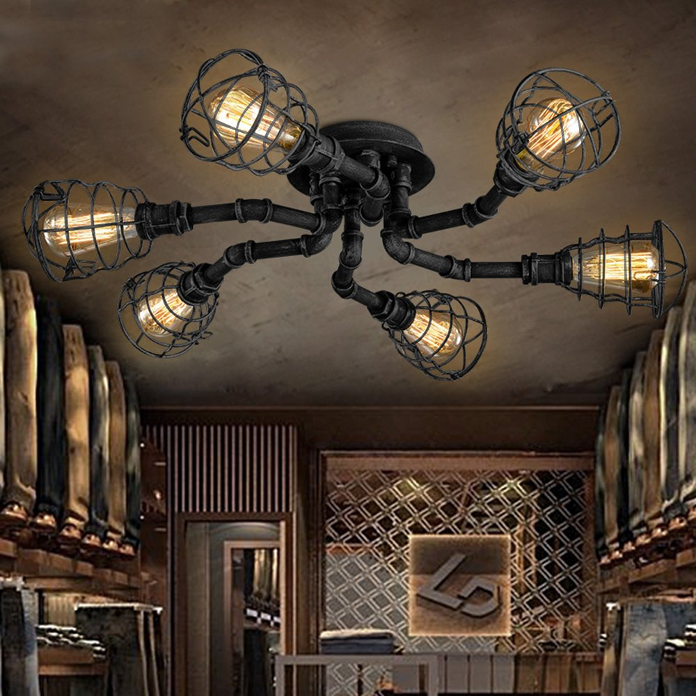 6 Lights Industrial Cage Pipe Pendant Light-LITFAD