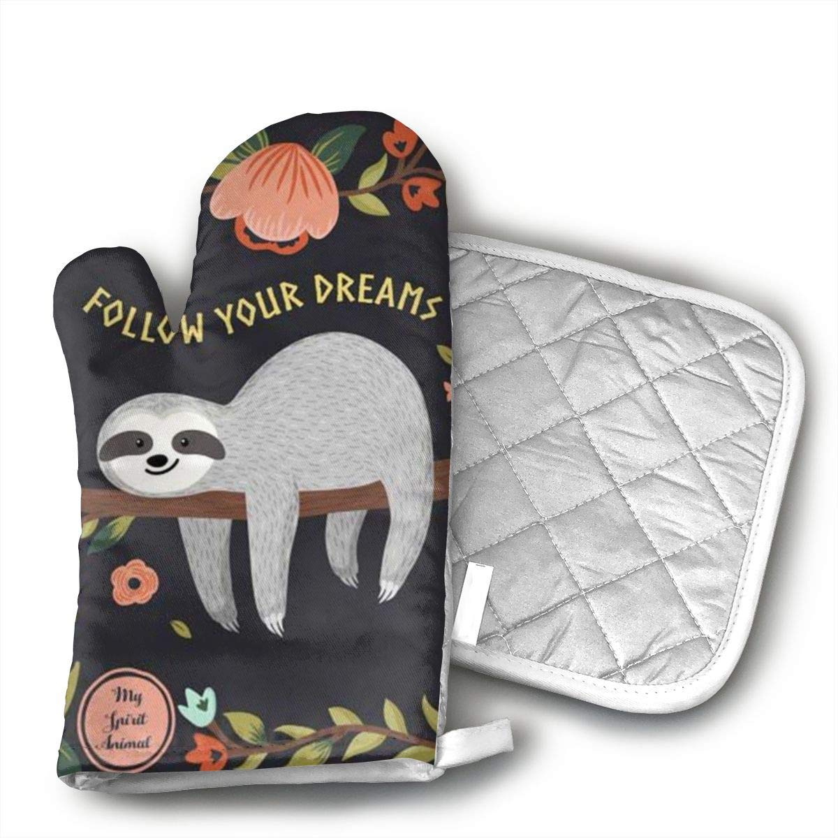 Ksiwo Sloth My Spirit Animal Oven Mitts and Pot Holders Heat Resistant Gloves to Oven Gloves for Safe BBQ Cook Baking Grilling