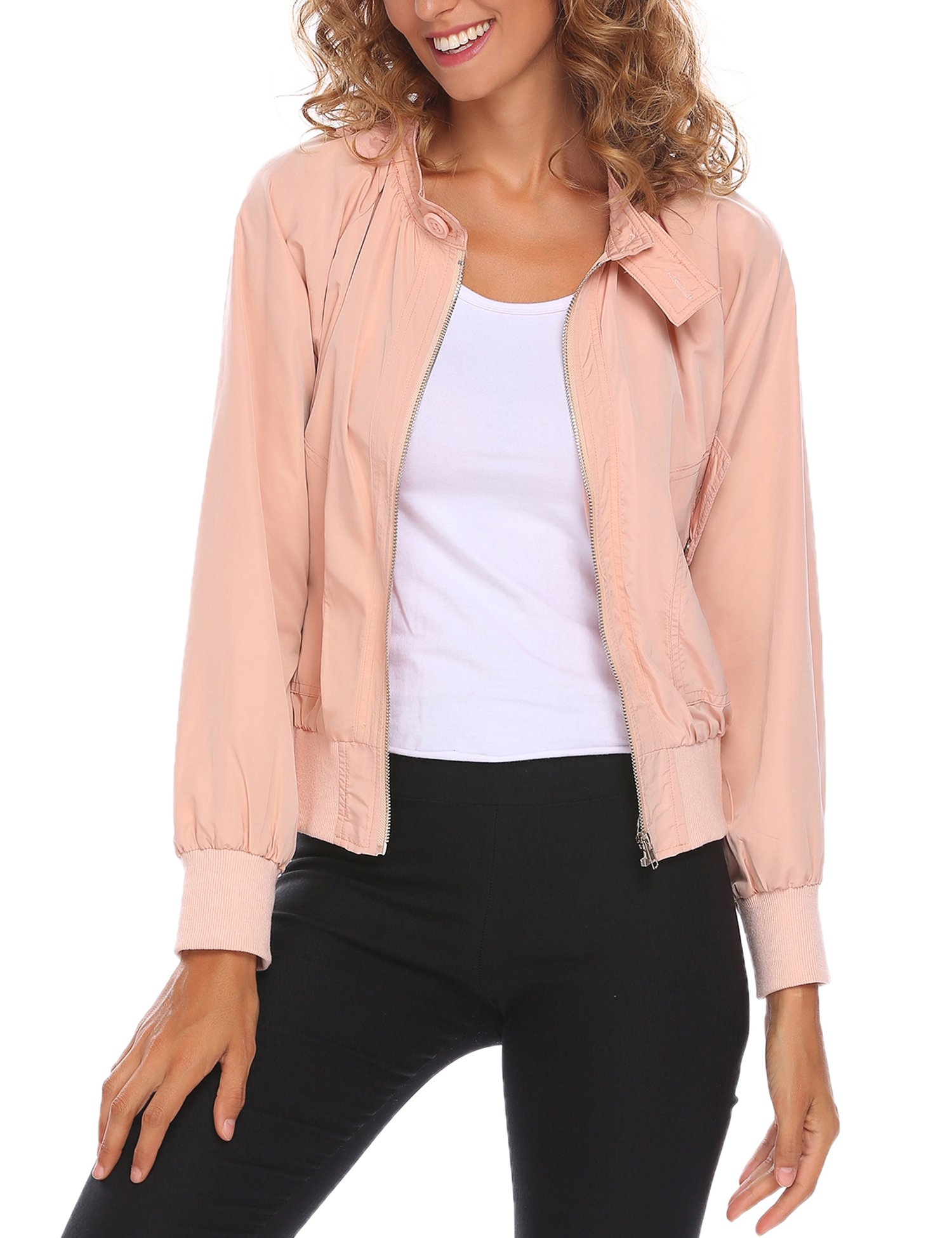 UNibelle Women's Classic Quilted Jacket Short Zipper Bomber Jacket Coat