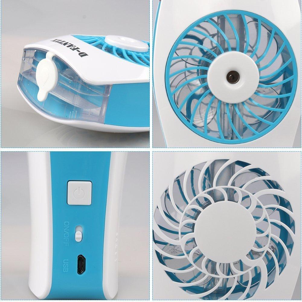 Portable Water misting Ventilateur refroidissement Fan main Held ventilateur /à piles avec brouillard humidificateur et ventilateur USB Powered pour beaut/é maison bleu bureau et les voyages juf03
