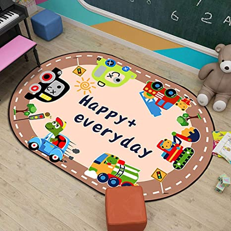 Oval,80x120cm Kindergarten Carpet Kids Play And Learn Rug Educational Carpet with Alphabet Colour Shape And Number Size