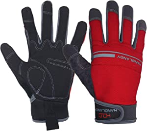 HANDLANDY Work Gloves Men & Women, Utility Safety Working Gloves Touch Screen, Flexible Breathable Yard Work Gloves (Medium, Red)