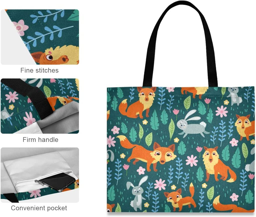 JUAMA Woodland Animals Fox Rabbit Canvas Tote Bag Handbag Casual Shoulder Bag for Women Girls