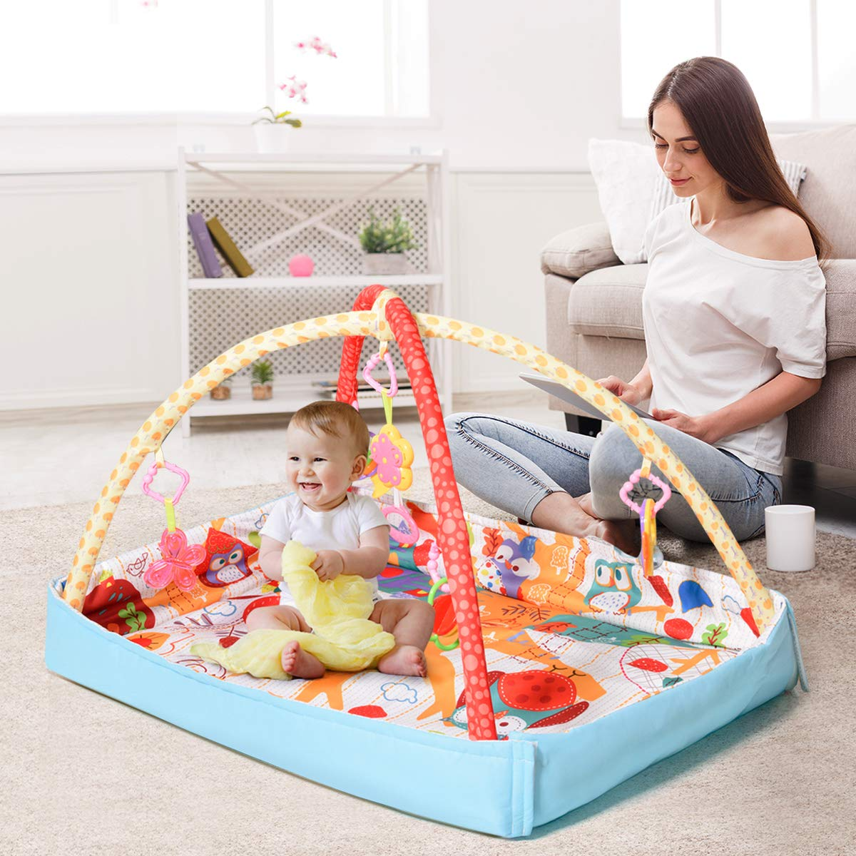 COSTWAY 3 in 1 Baby Play Music Mat - Infant | Toddlers | Newborn Carpet for Fitness, Play, Activity with Cartoon Owl Pattern, 5 Hanging Toys, 2 Removable Arches 110X70X50CM