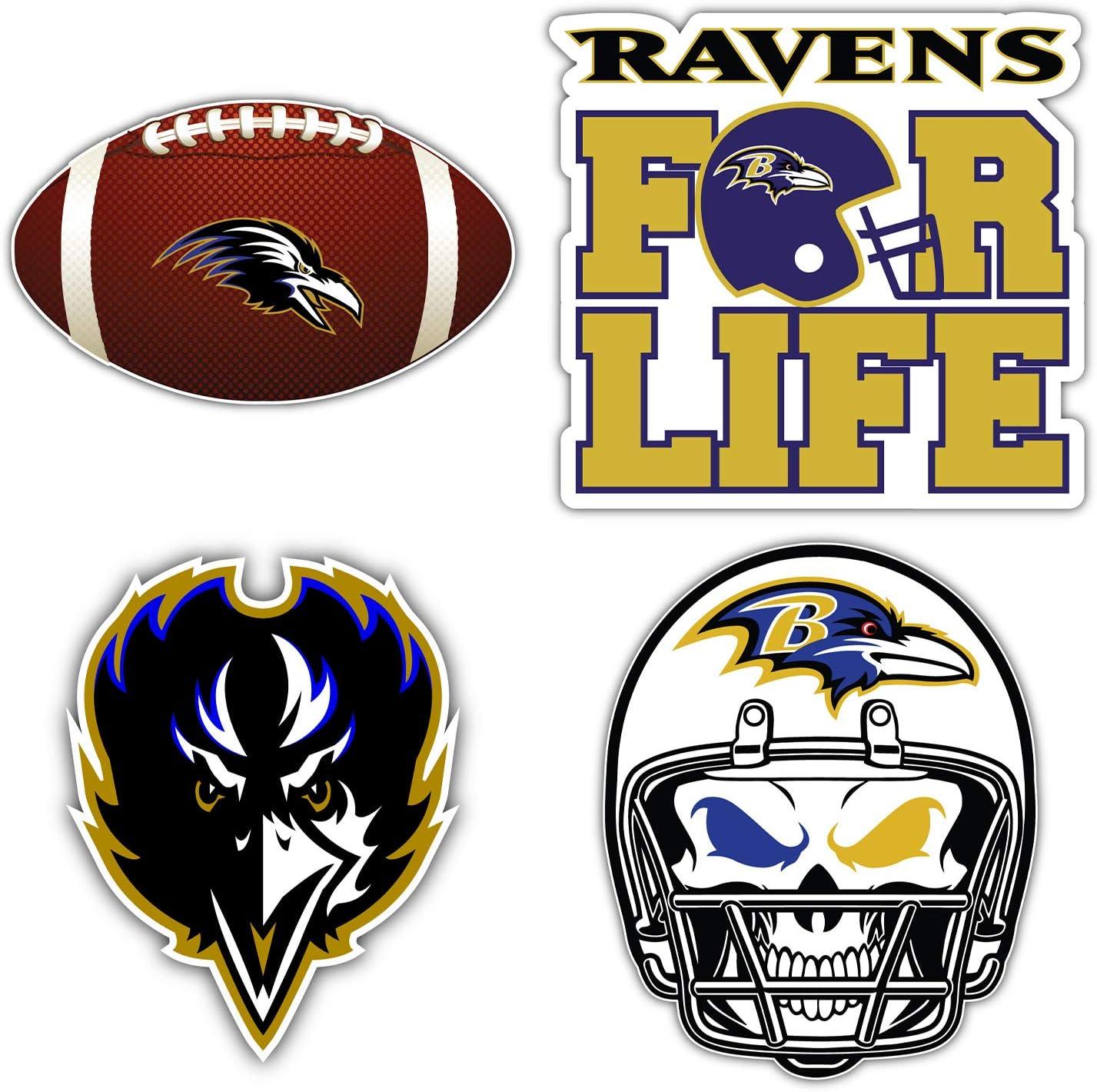 qualityprint Baltimore Ravens Set of 4 NFL Football Car Bumper Stickers Decals 5 Longer Side
