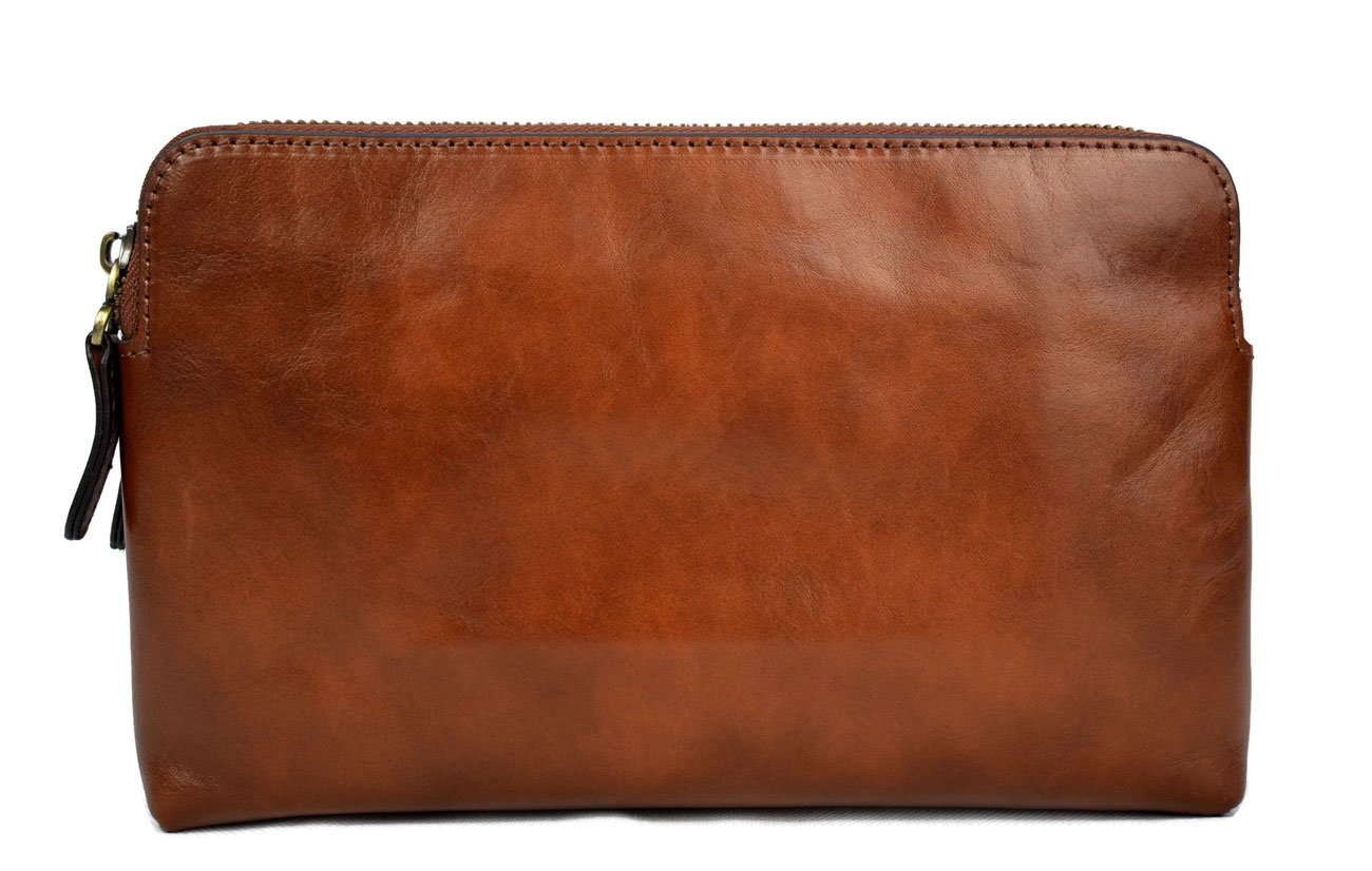 Leather clutch brown leather zipped bag big leather clutch zipper pouch leather zipper pouch leather clutch zipper clutch bag handbag