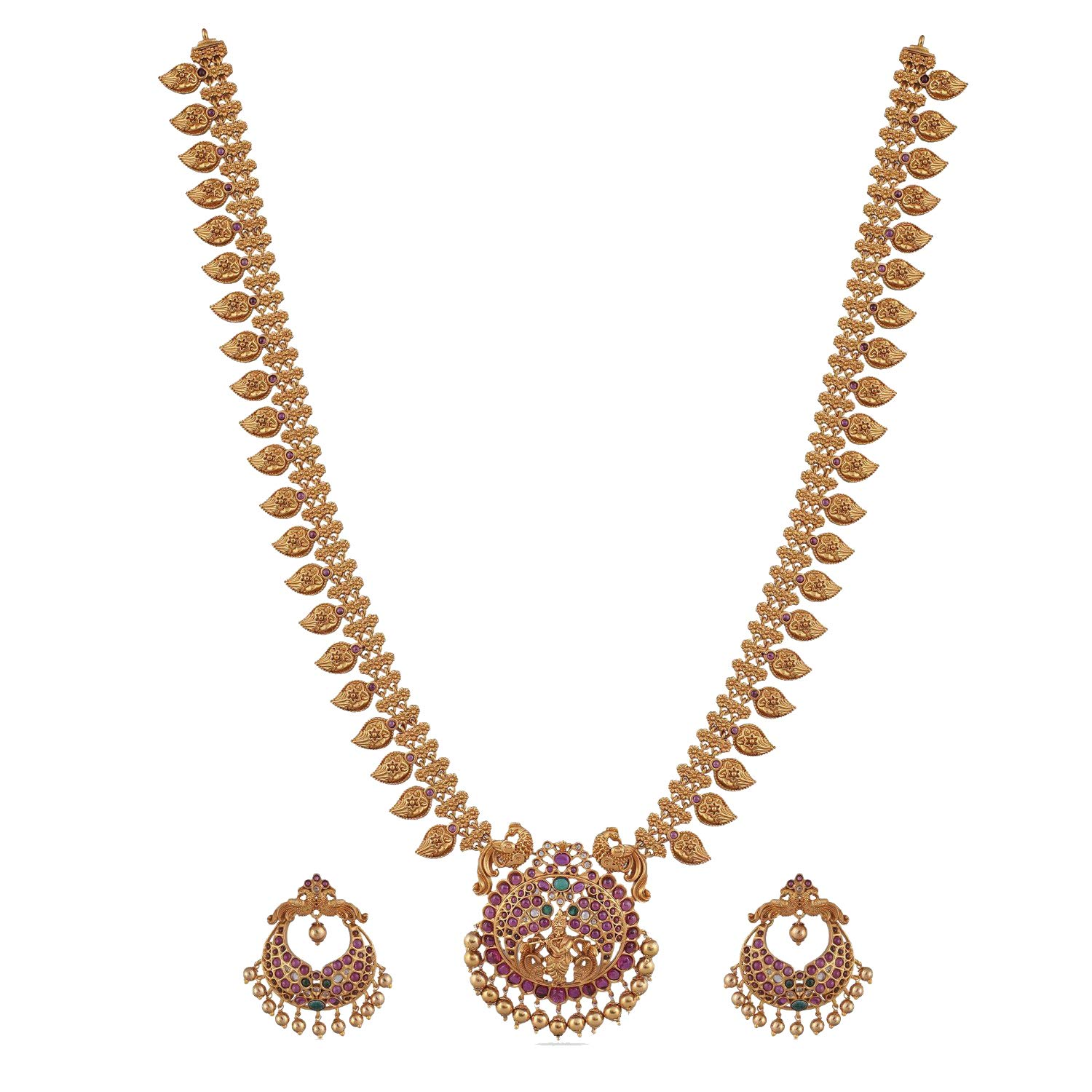 Tarinika Gita Gold-Plated Indian Jewelry Set with Long Necklace and Earrings - White Red Green
