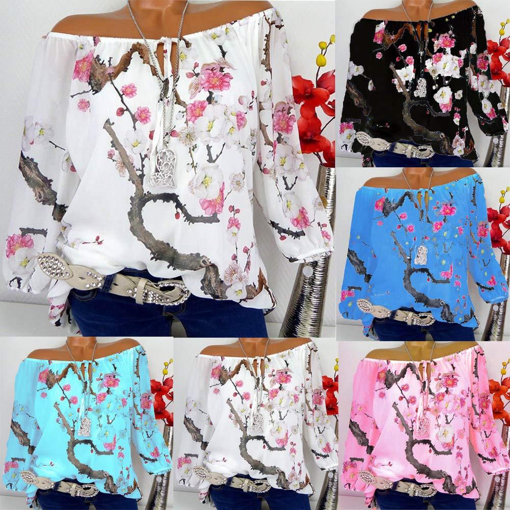 Blusa de Mujer de Moda Manga Larga de Moda para Mujer Blusa de impresión de Hombro Tops Casuales Camisetas ❤ Manadlian: Amazon.es: Ropa y accesorios