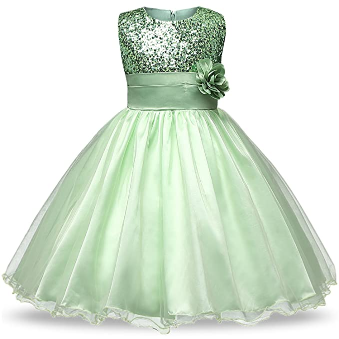 NNJXD Girl Flower Sequin Princess Tutu Tulle Baby Party Dress Size (110) 2- c2f7d1a833bb