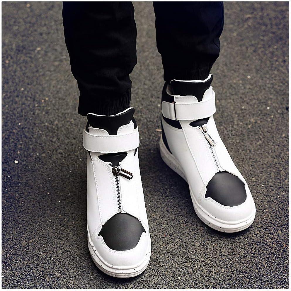 Tebapi Mens Backpacking Boots Men Leather Shoes Winter High Top Skull Gold Zipper Design Men Shoes Hip Hop Sneakers Mens