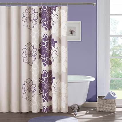 Madison Park Lola Design Floral Cotton Fabric Long Shower Curtain Casual Print Curtains For