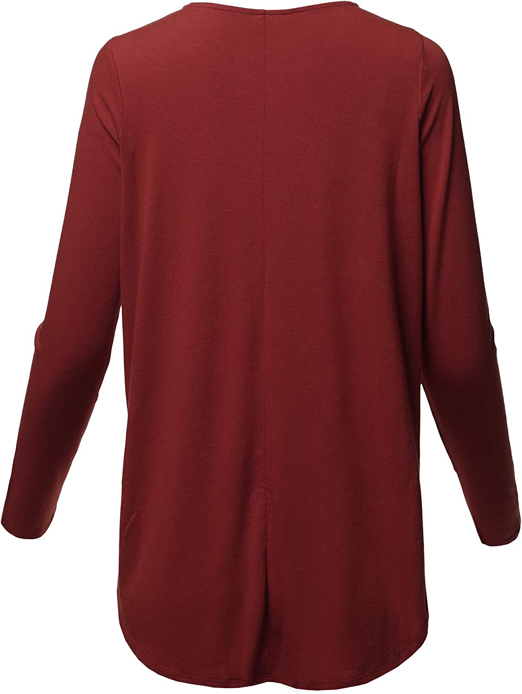Womens Premium Solid Long Sleeve Dolphin Hem Shell Button Henley Top Shirt