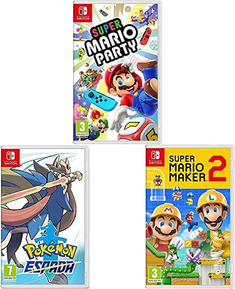 Super Mario Maker 2 + Super Mario Party + Pokémon Espada (Nintendo Switch): Amazon.es: Videojuegos
