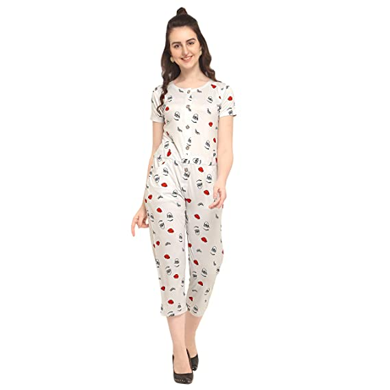 f6ac9e67b4ff Den Jay DJ-White Eye Print Jumpsuits: Amazon.in: Clothing & Accessories