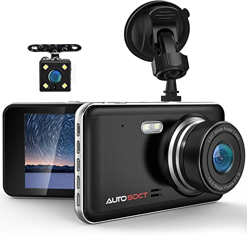 AUTOSOCT Dual Dash Cam 4.0 Inch LCD Screen 1080P FHD Front and Rear Camera, Car Driving Recorder with IR Sensor Night Vision, Motion Detection, G-Sensor, 170 Wide Angle and Parking Monitor