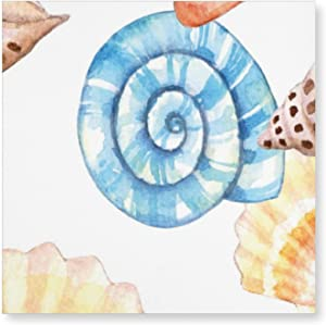 Canvas Wall Art - Blue Beige Seashells Pattern Wall Art, Bathroom Pictures Stretched Framed Wall Decor Ready to Hang for Bedroom Kitchen Office Home Art