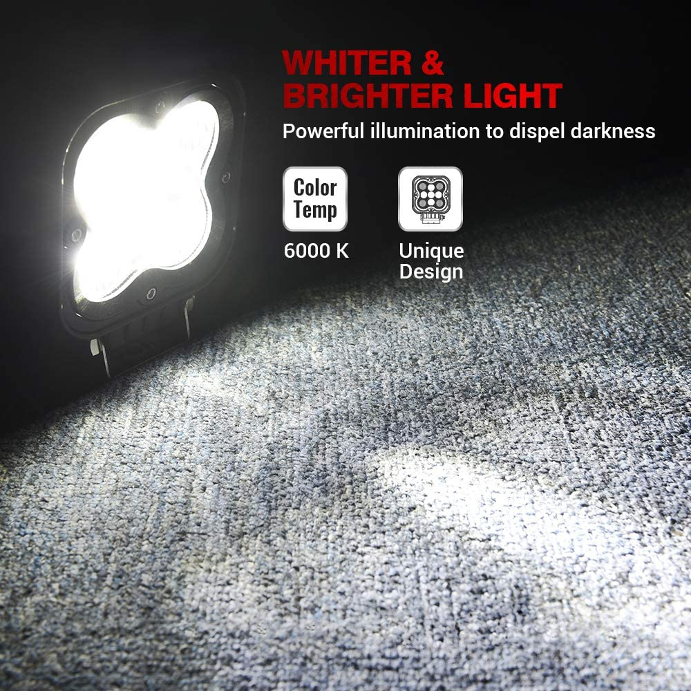 MICTUNING WS1 2Pcs 4.4 Inch 27W LED Light Pods 2335lm Spot Flood Combo Beam Off Road Driving Lights White Light
