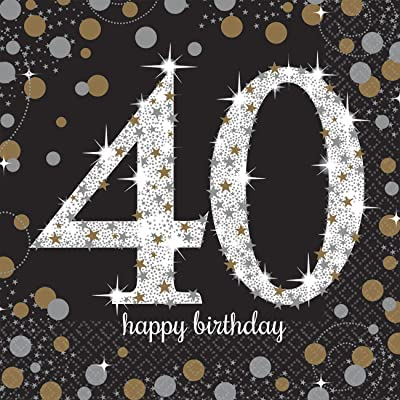 "amscan Sparkling Celebration 40"" Luncheon Napkins, Birthday One Size, Black: Toys & Games"