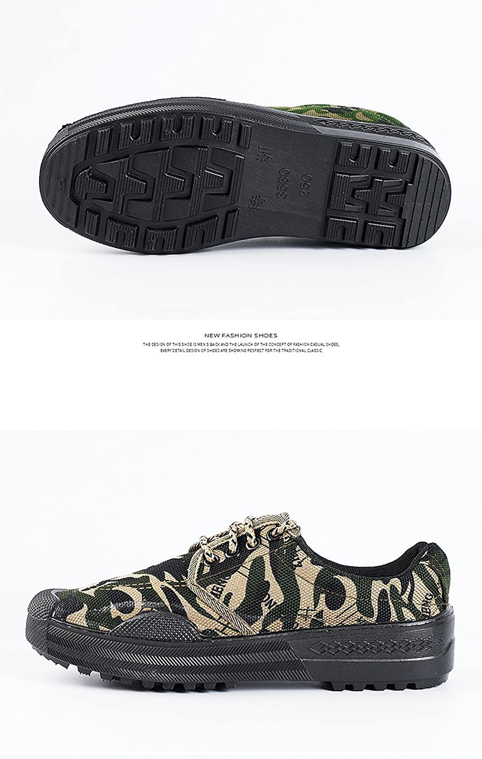 Unisex Men Women Working Safety Low-Cut Camouflage Green Shoes Slip-Resistant Sneaker