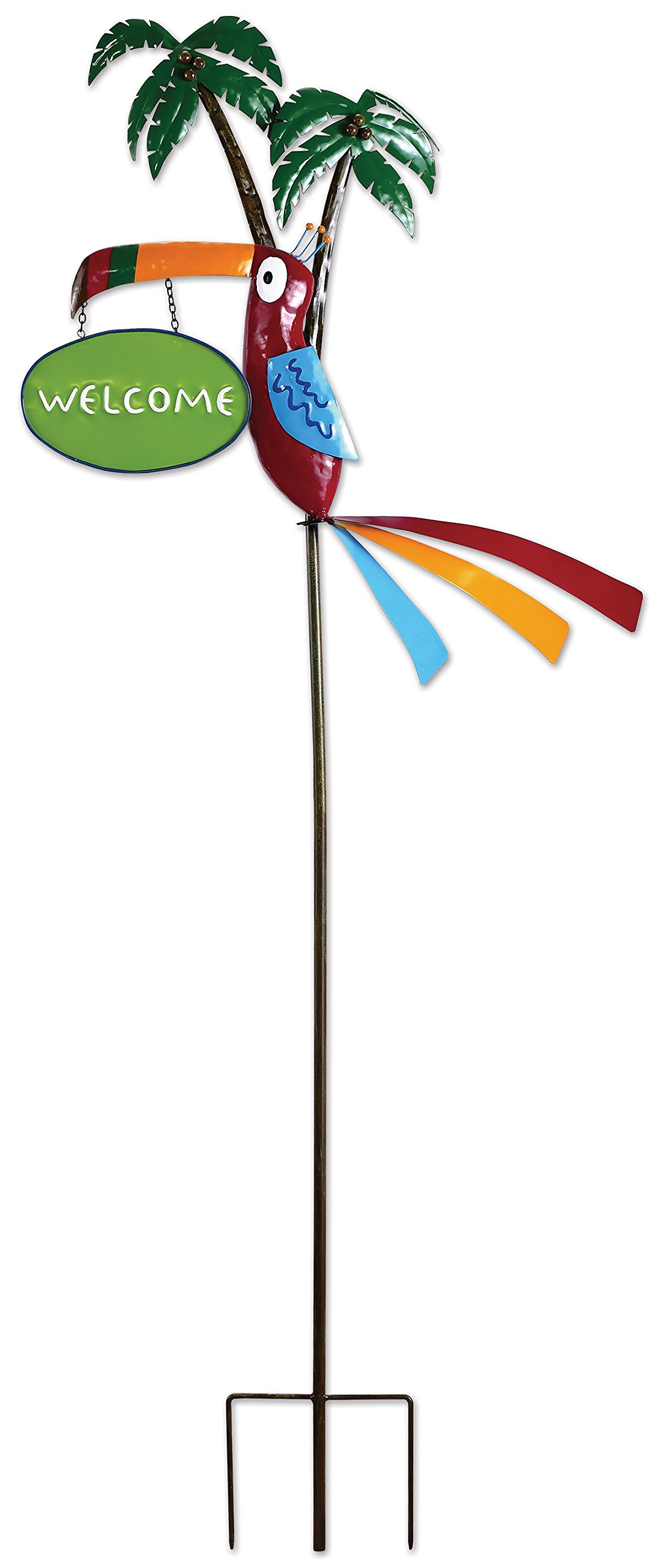 Sunset Vista Designs MF098 Tropical Toucan Garden Stake with Welcome Sign