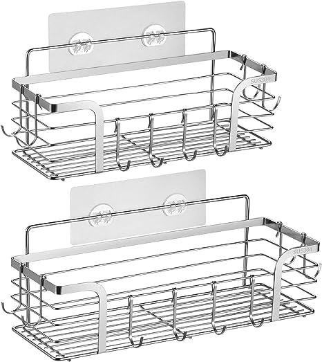 Details about  /Shower Caddy Basket Shelf with Hooks for Hanging Sponge and Razor,Shampoo Holder