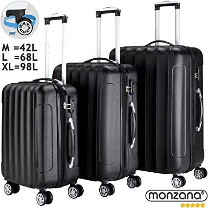 "7e54e04eb982 Hard Shell Suitcase Trolley Set Luggage Hard Case Large 4 Wheel Spinner  Lightweight 3 Pieces Travel Black Blue or Silver 22/26/ 30"" ABS Polyester  with ..."