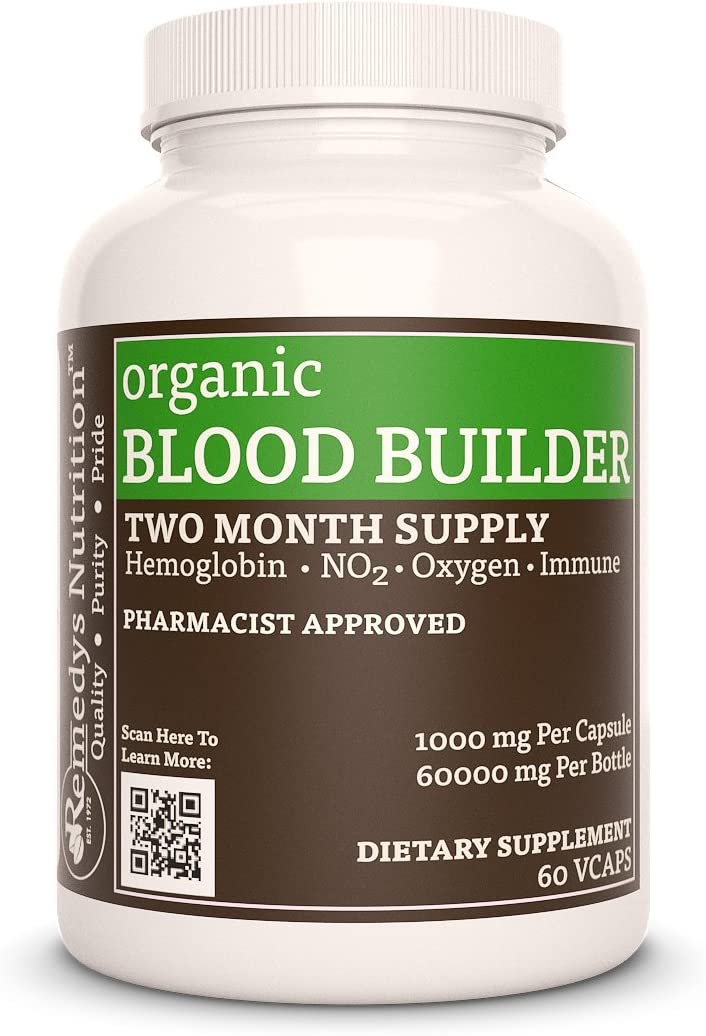 Blood Builder™ Remedys Nutrition MEGA Strength 300 mg / 18000 mg per Bottle Vegan VCaps (Check Supplement Facts Box for a List of Organic Ingredients)