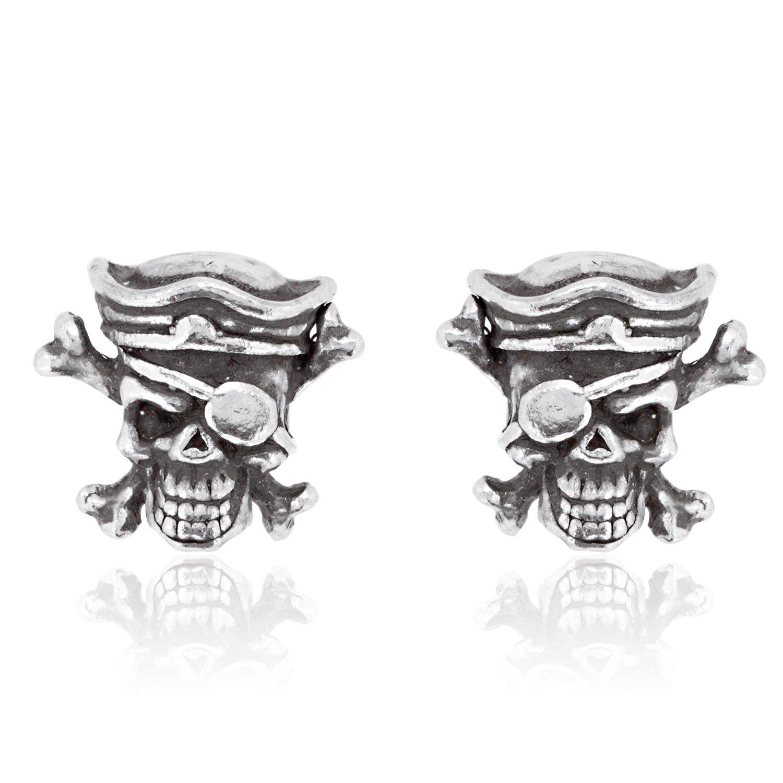 Dan's Jewelers Skull And Crossbones Pirate Stud Earrings, Fine Pewter Jewelry