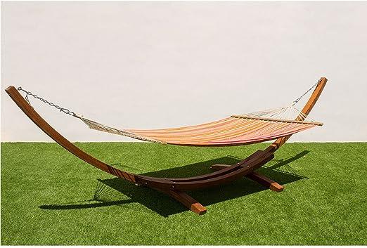 MI HAMMOCK Soporte hamaca madera doble,Hamaca jardin exterior,Hamaca camping beach, Tamaño-hamaca:200x150cm Marco:420x120x120cm: Amazon.es: Jardín