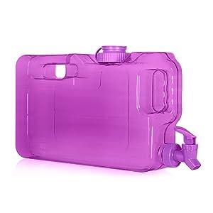 Geo Sports Bottles 1.1 Gallon BPA Free Leak- Proof Refrigerator Water Dispenser Bottle w/Faucet & 58mm Screw Cap (Purple)
