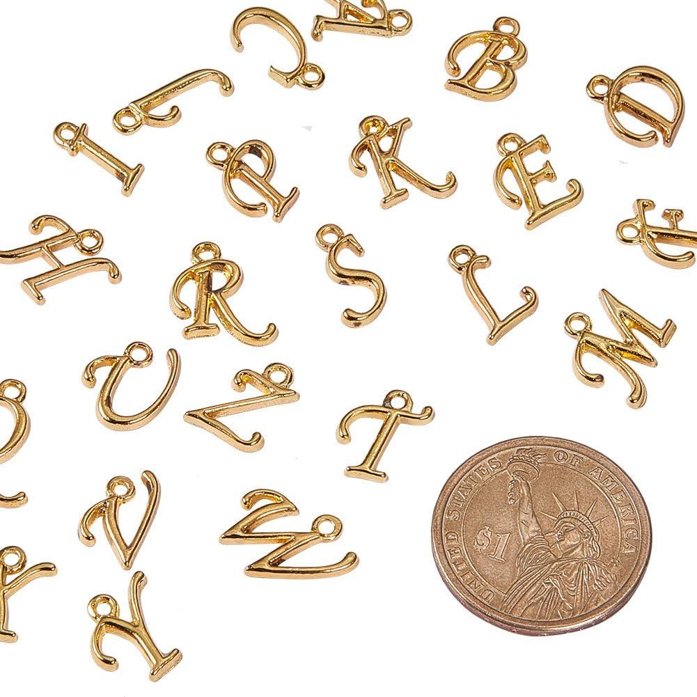 200/St/ück ca pandahall Legierung Alphabet Buchstabe Anh/änger Europ/äische Charm-Armband Schmuck gemischt Loch: 1,5/mm goldfarben 12/~ 17/x 4/~ 15/x 2/mm