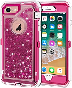 iPhone 8 Case, iPhone 7 Case, Anuck 3 in 1 Hybrid Heavy Duty Defender Case Sparkly Floating Liquid Glitter Protective Hard Shell Shockproof TPU Cover for Apple iPhone 7/ iPhone 8 4.7 inch - Rose Red