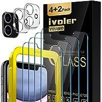 iVoler 4 Stuks Screen Protector + 2 Stuks Camera Lens Protector Compatibel met iPhone 11 en iPhone XR 6,1 inch, Gehard…