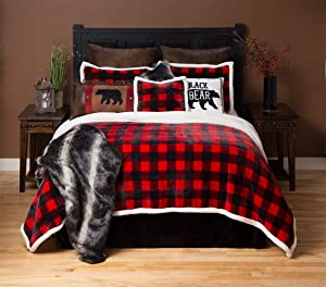 Carstens Lumberjack Red Plaid Plush Bedding Set, Twin