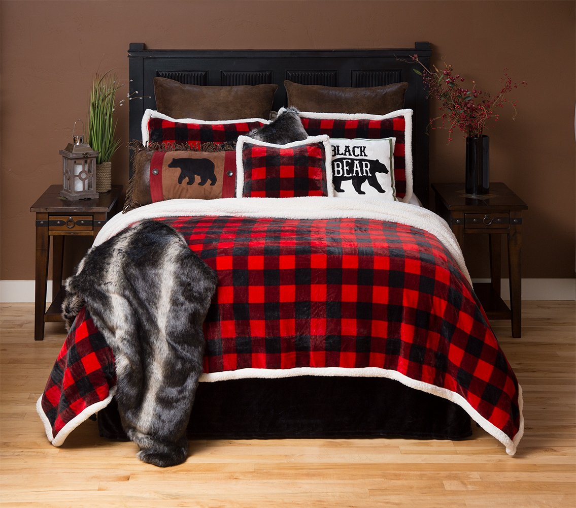 Carstens Lumberjack Red Plaid Plush Bedding Set, Queen