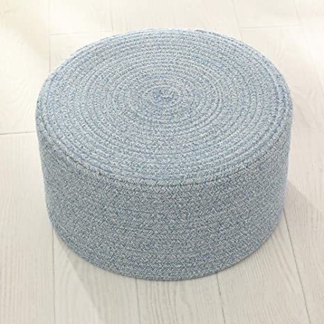 Amazing Idee Home Round Cozy Floor Pouf Ottoman Cotton Woven Foot Rest Pouf For Adult Footstool For Living Room Couch Sofa 8 Inches Height Blue Machost Co Dining Chair Design Ideas Machostcouk
