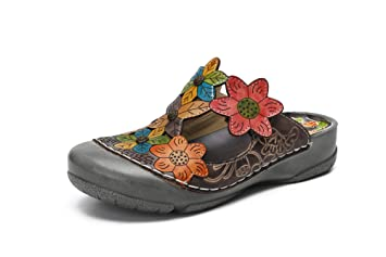 Sandalias Mujer, Popoti Sandalias Verano Cuero Zapatillas Mocasines Chanclas Tacón de Zapatos de Flores Vintage (Gris, 36): Amazon.es: Equipaje