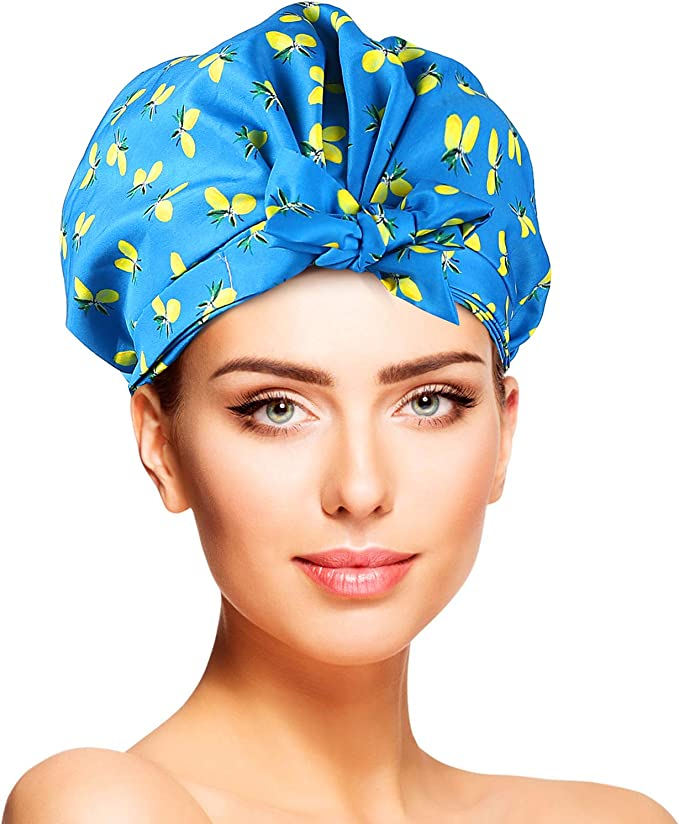 YISUN 2-Pack Snug Fit Waterproof Satin Shower Caps for Women, Fashion Double Layer Strong Elastic Band Flipped Up Trims Ends Bath Hats for 50-64 cm Standard Head: Amazon.co.uk: Beauty