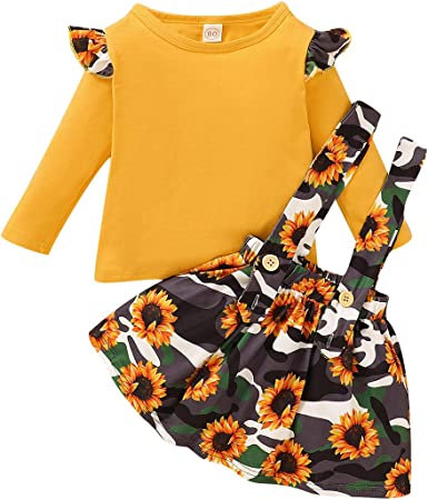 Headband DaMohony 3 Piece Girls Clothes Suit Striped Shirt with Ruffles Straps Skirt