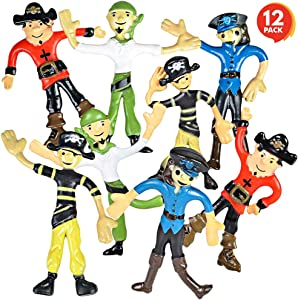 ArtCreativity Bendable Pirate Figures, Set of 12 Flexible Men, Birthday Party Favors for Boys and Girls, Stress Relief Fidget Toys for Kids and Adults, Goody Bag Stuffers, Piñata Fillers