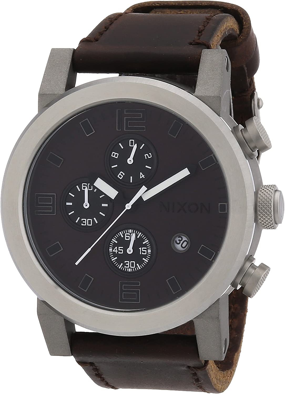 Nixon Men s Quartz Watch The Ride Brown Black A315562-00 with Leather Strap