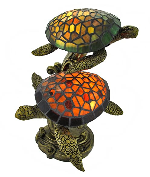 Exceptional Resin And Glass Accent Lamps Tiffany Style Swimming Sea Turtles Lamp Amber  And Green Glass 10