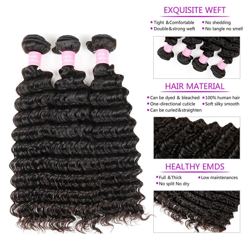 Brazilian 8A Deep Wave 3 Bundles with Closure Virgin Human Hair Bundles with 4x4 Middle Part Closure Unprocessed Virgin Human Hair Natural Black(20 22 24+18) by Miss GAGA (Image #3)