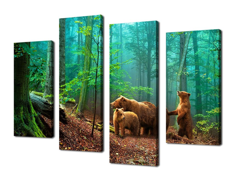 Canvas Wall Art Fores Green Tree Nature Painting Wall Decor Framed Ready to Hang - 4 Pieces Large Canvas Prints Brown Bears Family in Woods Contemporary Pictures for Living Room Bedroom Decoration