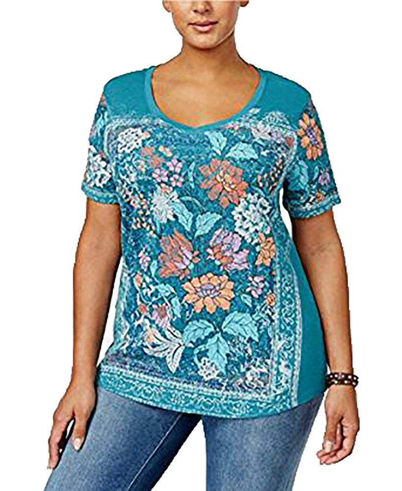 Style & Co. Womens Plus Floral Print V-Neck T-Shirt Green 2X